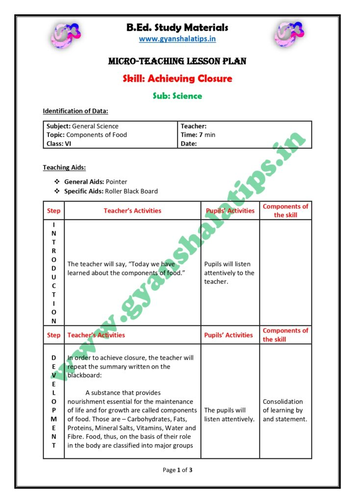 Science Micro Lesson Plan on Achieving Closure skill - Components of food