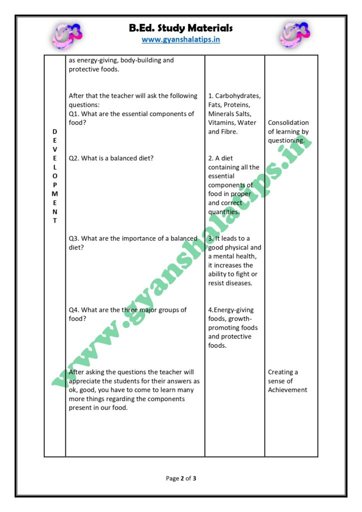 Micro-Teaching Lesson Plan for the skill of Achieving Closure