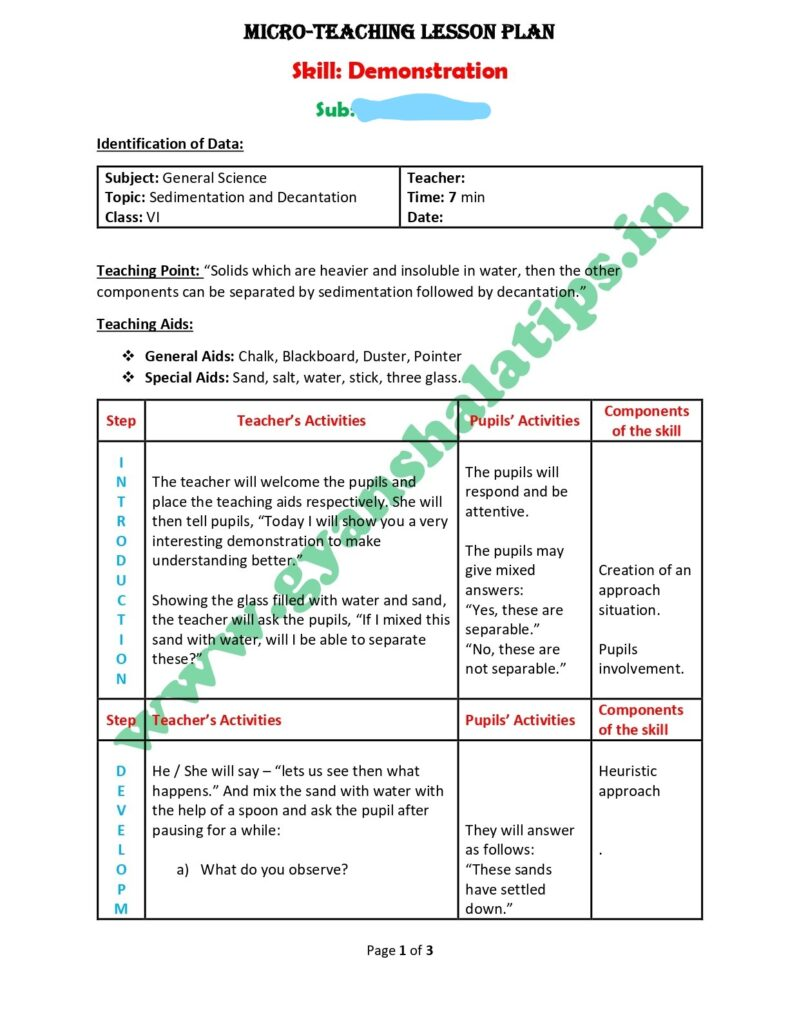 Science Micro lesson plan for the skill of demonstration.