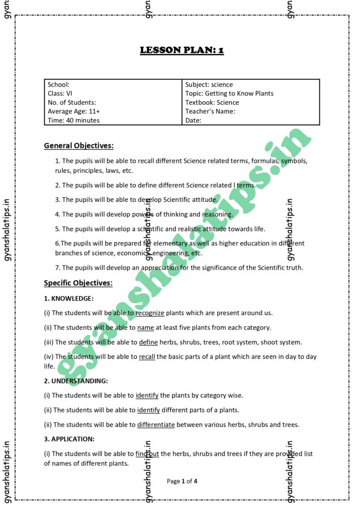 Science Lesson Plan on Plants for B.Ed. - Class 6