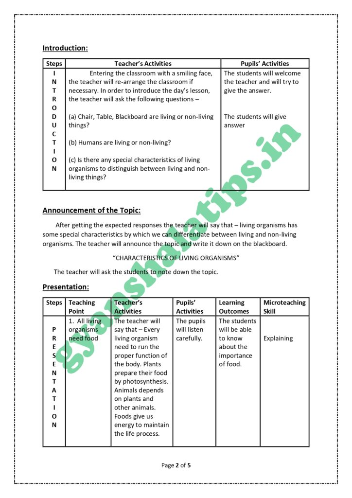 Science Lesson Plan For Class 6
