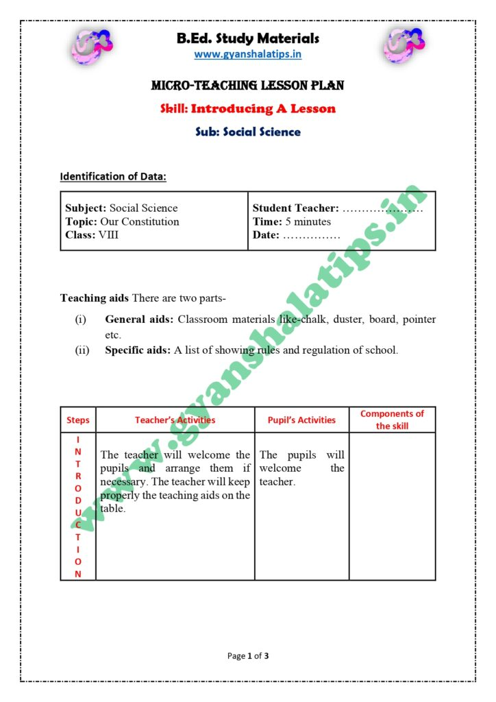 Skill of Introducing a Lesson in Social Science Micro Lesson Plan for B.Ed.
