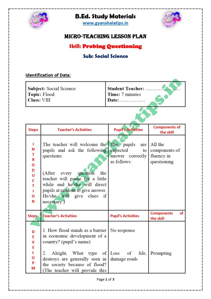 Social Science Skill of Probing Questions Micro Lesson Plan for B.Ed.